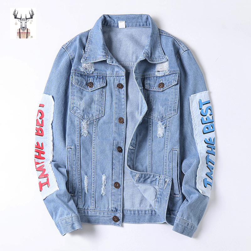 Custom High Quality Winter No Hooded  Printed Denim Jacket