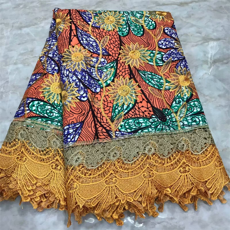 Nigerian Ankara Fabrics With Embroidered Lace Fabric African Wax Fabric Cotton