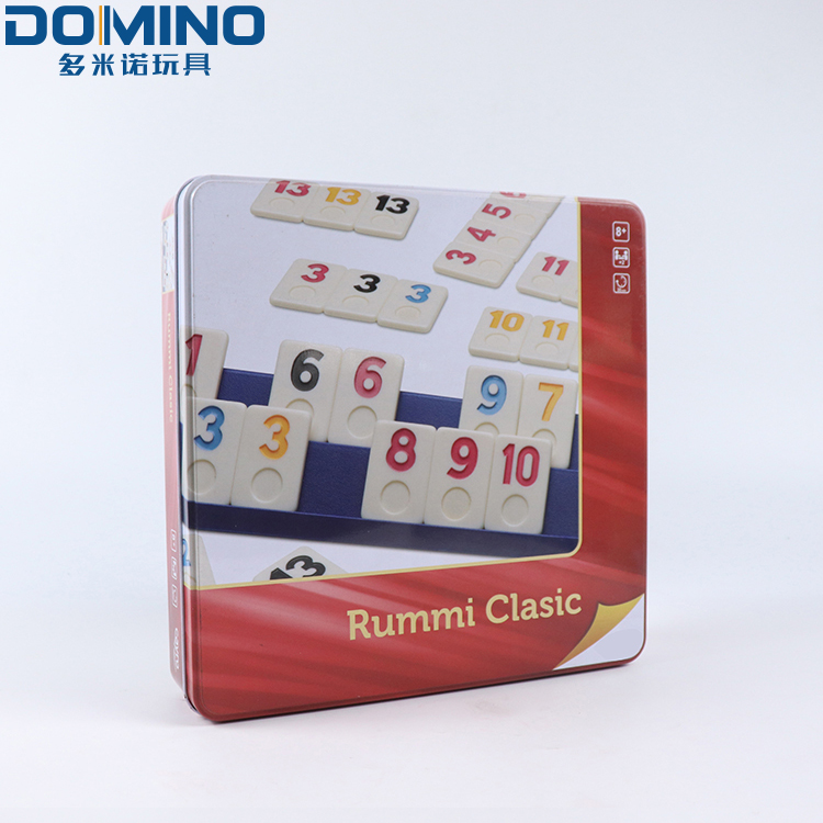 Wholesale kids game tin containers/puzzle tin manufacturer/large square tin box for packing rummy game set