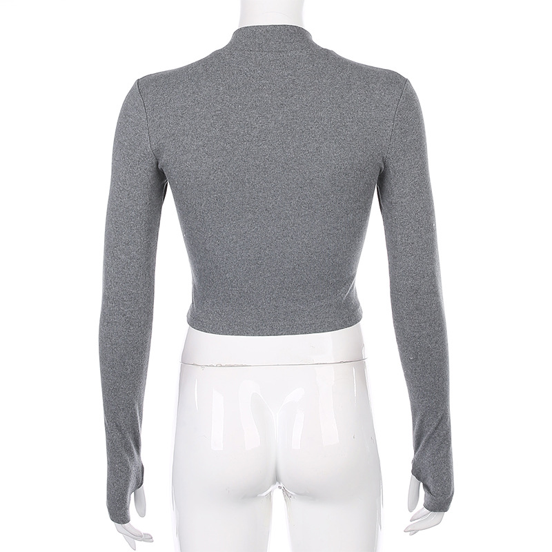 Wholesale long sleeve crop top women gym knitted basic t shirt Rib high elastic shirt for ladies