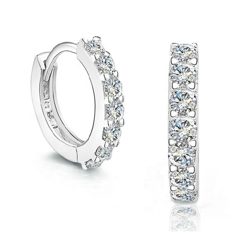 Korean micro pave cz sterling silver stamped 925 huggie earring by Moyu, White