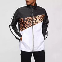 2019 New Design Hip Hop Street Style Color Block Leopard Print Jacket Zip Up Men Canvas Safric Jacket