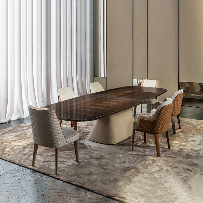 Neoclassical Leather dining table factory price luxury home furniture marble top italian style dining table with 6 Seater