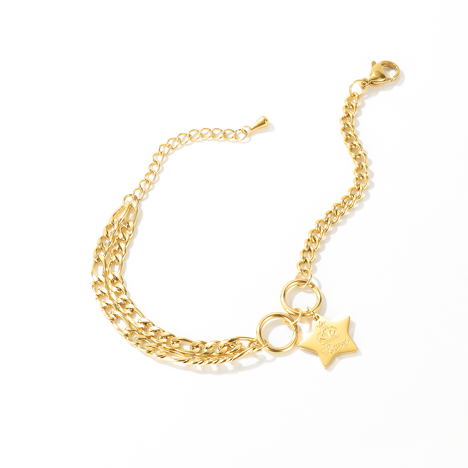 New designs Women Stainless Steel Star Charm Cuban Link Chain