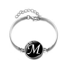 SONGDA модный A-Z браслет с 26 оригинальными буквами индивидуальная фамилия начальный Алфавит напечатанный стеклянный драгоценный камень Сереб...(Китай)