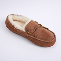 Wholesale Warm Soft Winter Indoor Slippers, Men's Genuine Suede Sheepskin Moccasin Slippers