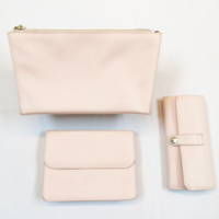Light peach cosmetic makeup bag PU purse wallet with zipper and hasp