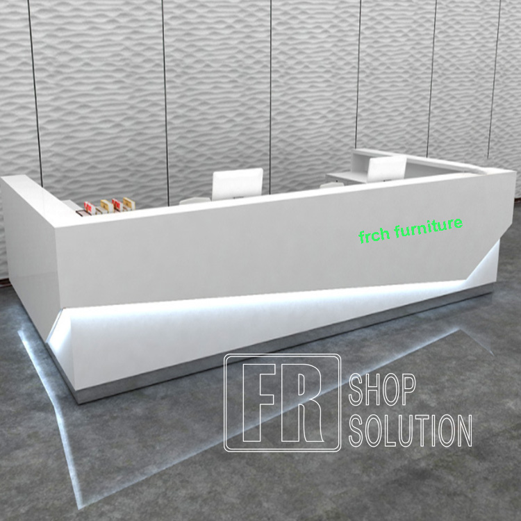 Custom Modern Wood U Shaped Cash Counter Table White Reception Desk with Led Lights