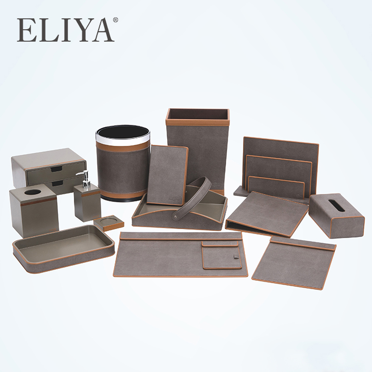 Luxury Guest Room Hospitality Amenities Set Leather Hotel Tray