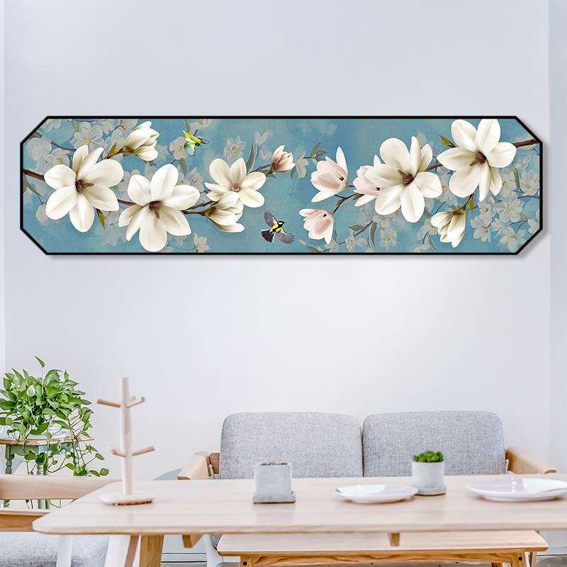 Nuevo estilo chino casa decoración pintura Octagon Flor de melocotón decoración de pared pintura de la lona para dormitorio Hotel pintura al óleo decorativa