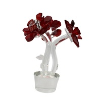 Pujiang Red K9 Crystal Flowers Elegant Glass Red Rose For Home Decoration Crafts And Wedding Decoration Gift