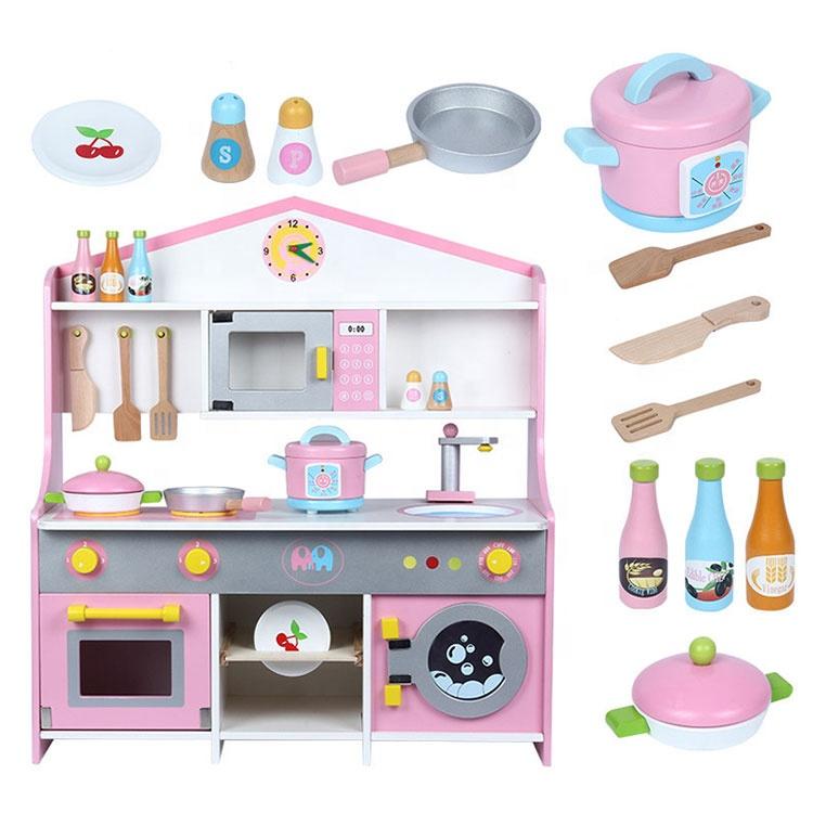 جديد الاطفال اللعب ألعاب تعليمية بالجملة كبيرة المحاكاة الاطفال مجموعة ألعاب المطبخ لعبه خشبيه