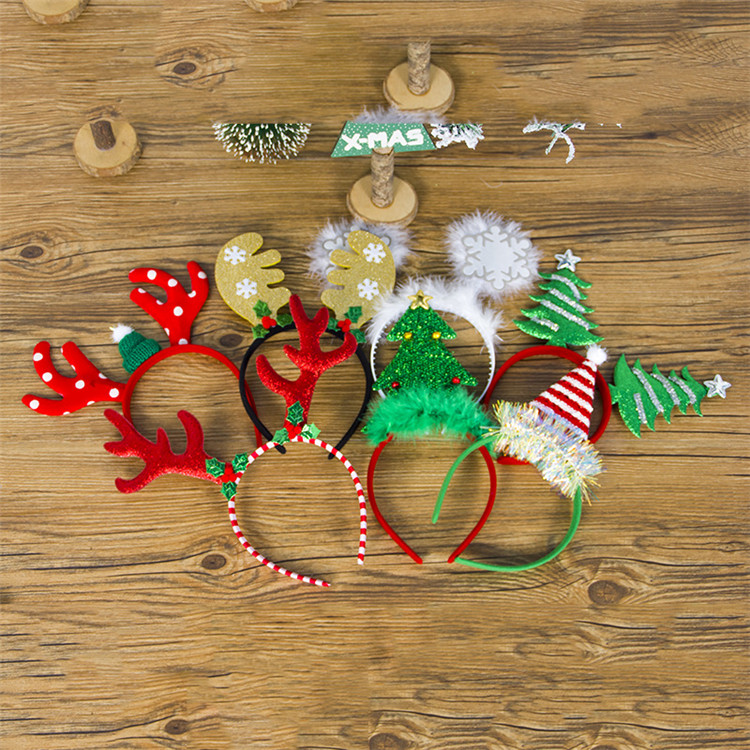Lovely Cartoon Christmas Reindeer Antler Headband Party Headband Children Hair Hoop