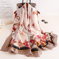 Wholesale 2020 new design female soft satin shawl newest floral printed korea style scarves silk women