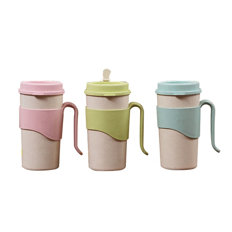 AFTCE080A Natural Rice Husk Bottles Reusable PP Plastic Cup With Handle And Lid For Office