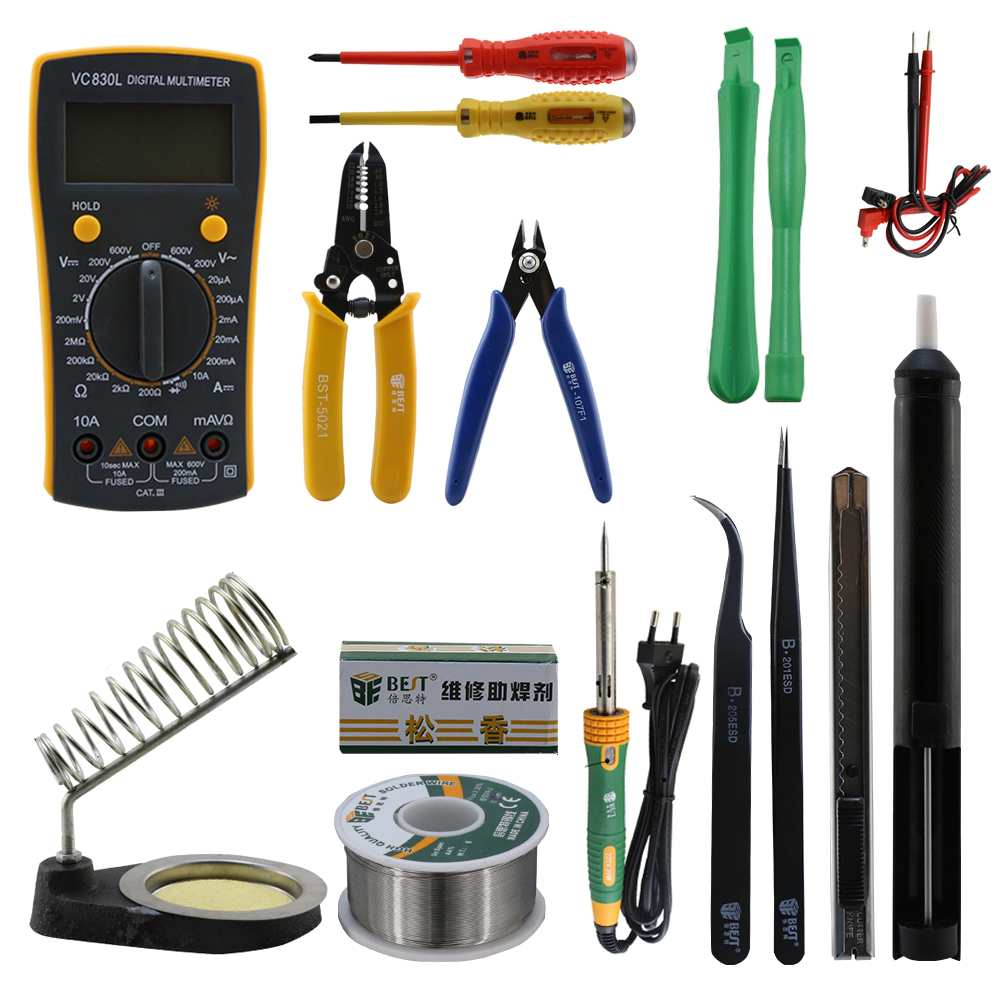 BST-113 Mobile phone repairing Tools phone repair kit with soldering iron multimeter for cellphone laptop PC