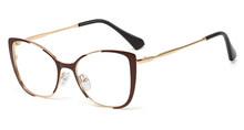 Kachawoo Ретро кошачий глаз очки женские коричневые прозрачные очки Оптическая оправа металлические Золотые женские аксессуары подарок на ден...(Китай)