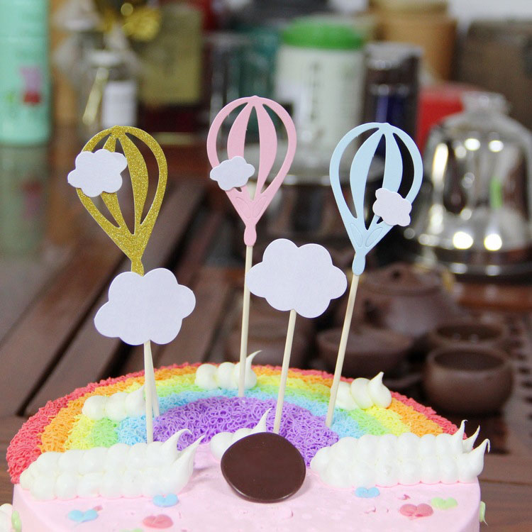 Set of 5 Baking <strong>Cake</strong> Three Color Hot Air Balloon Clouds Card Birthday party decoration cloud scene <strong>accessories</strong>