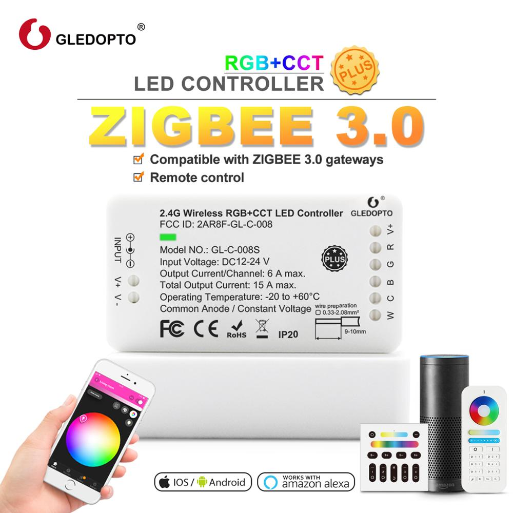 Gledopto 4-אזור 2.4G RF wireless rgb cct מלא מגע מרחוק pad wifi תואם עבור zigbee ניתן לעמעום led מנורות מוצרים