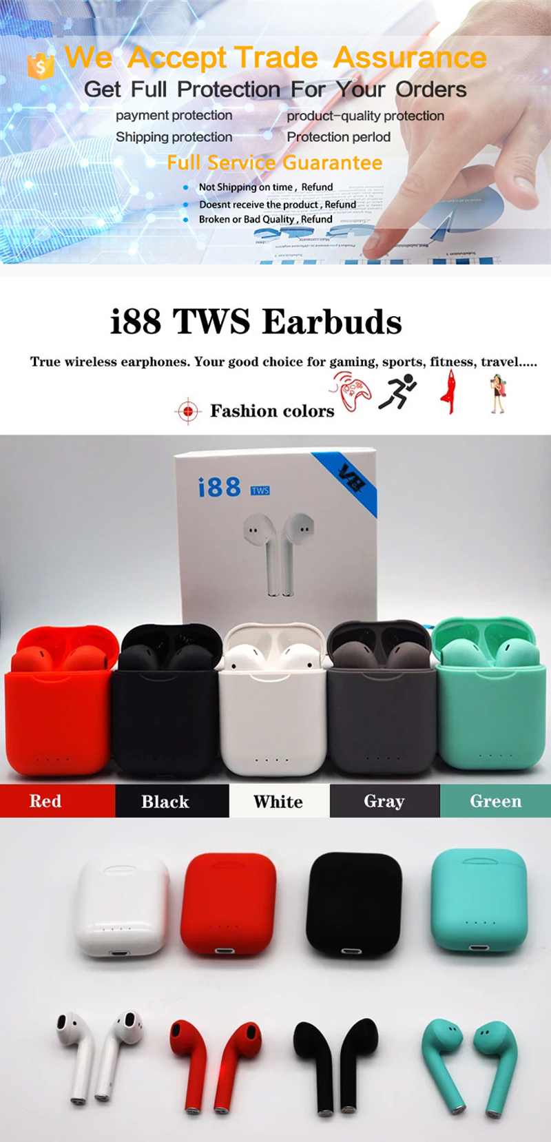 i88 5.0 TWS 2019 new best selling mobile phone wireless sport running headset earphones