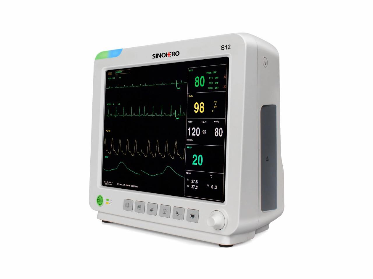 """SINOHERO CE aprovado popular 12 """"7 polegadas monitor de etco2 etco2 patient monitor paciente portátil uso hospitalar"""