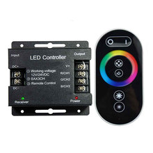 rgb контроллер 12-24 В сенсорный пульт дистанционного управления RGB 24A 3 канала Светодиодные полосы света RF управления для SMD5050 3528 RGB светодиодны...(Китай)