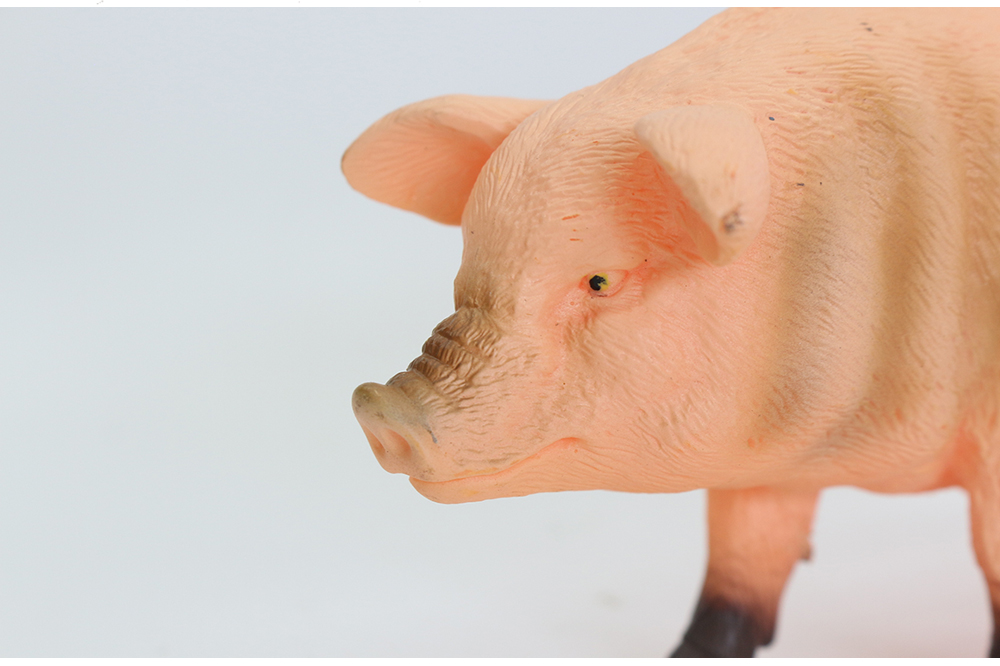 19 cm plastic hollow farm animal model vinyl pig figure toy for table decoration