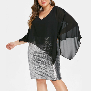 2019 summer hot chiffon and sequined ruffles black dress sexy plus size wrapped skirt mini dress for women