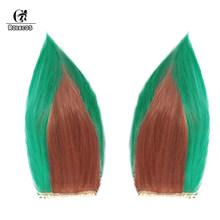 Волосы для косплея ROLECOS, длинные зеленые с рожками, термостойкие синтетические волосы для косплея(Китай)