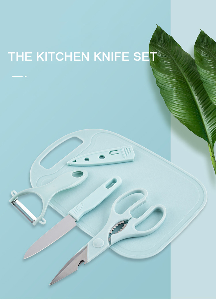 New Products Wholesale Amazon Hot Sale Eco-friendly Plastic Chopping Board with vegetable peeler and Knife 4pcs Set