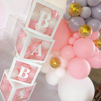 4PCS White BABY Box Transparent Box For Girl Baby Shower Box Wedding Party Supplies Birthday Party Decor