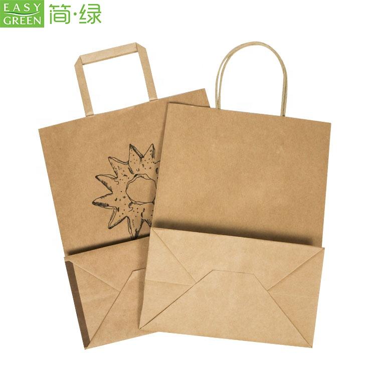 Commercio all'ingrosso su ordinazione marrone asporto pacchetto kraft sacchetto di carta per alimenti
