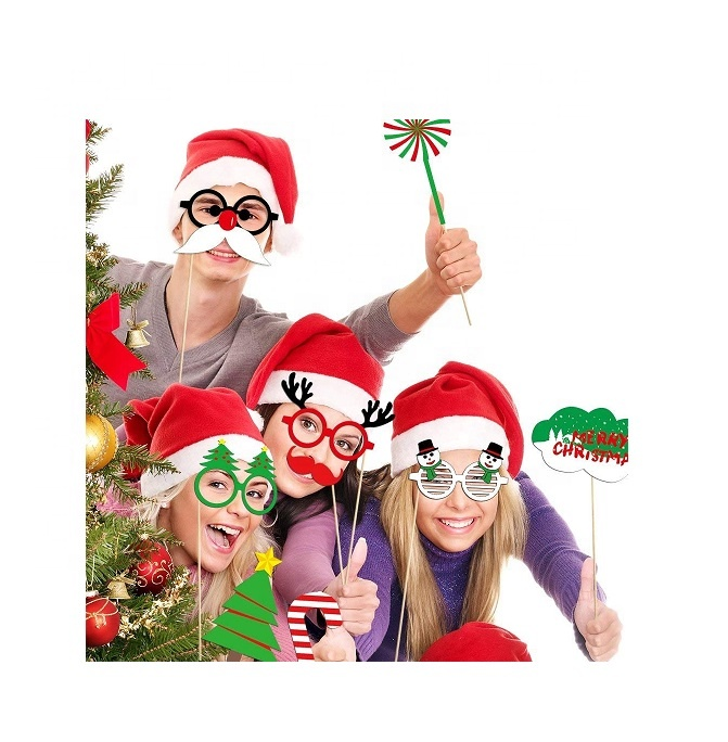 32PCS Happy Christmas Photobooth Pose Sign Kit Christmas Photo Booth Props