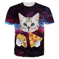Men High Quality Supima Cotton Round Neck Bottom Short Sleeve 3D Full Printing Cat T Shirt