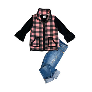 2019 new girls boutique children clothes 3pcs warm winter coat top with denim trouster baby girls fashion outfits