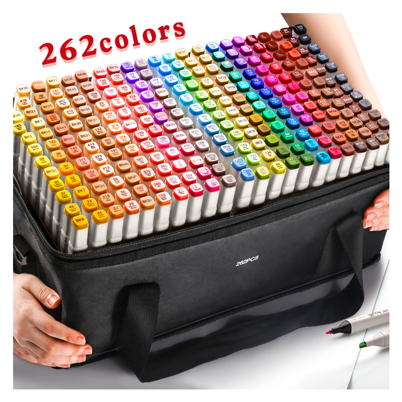 Set of 24-262 Colors Manga Chisel Brush Point Dual Tips Art Twin Markers Pen Double Ended Alcohol Art Sketch Drawing Marker Pen