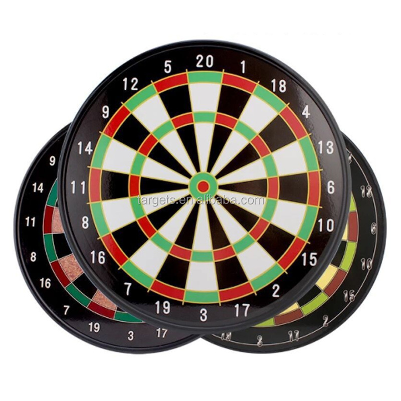 Double-sided Paper Dartboard with 6 Brass Darts Game Set