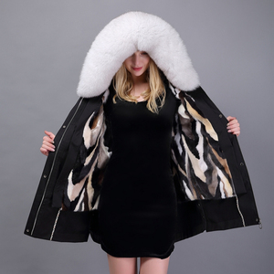 Cheap Latest Genuine Fur Lined Fashion Real Mink Fur Parka with Fur Hood