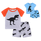 Custom 2019 Summer 100% Organic Cotton Baby Kids Boys Children Short Sleeve Pajamas 2Pcs Clothes Sets