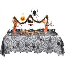 Halloween Black Spider <span class=keywords><strong>Web</strong></span> Polyester Lace Square untuk Pesta Halloween Taplak Meja-5