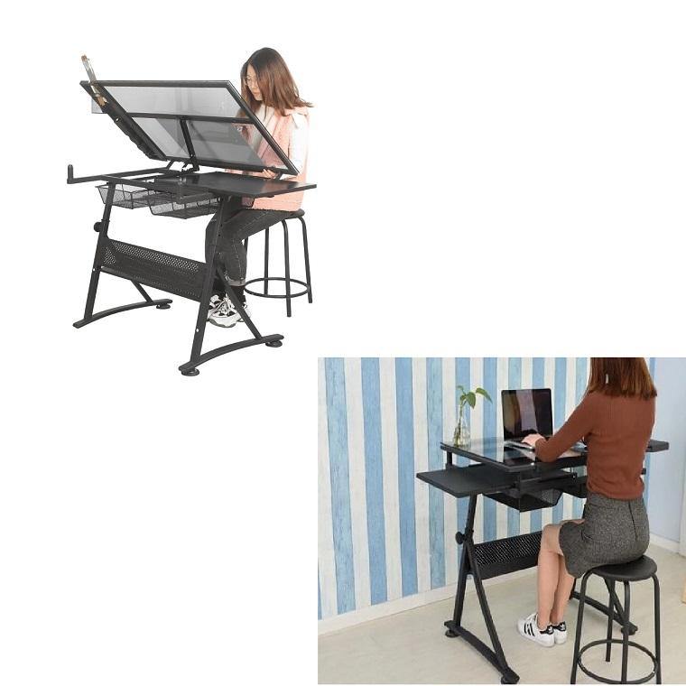 ग्लास ड्राइंग डेस्क प्रारूपण टेबल कला डिजाइन ड्राइंग लेखन पेंटिंग क्राफ्टिंग काम और अध्ययन के लिए