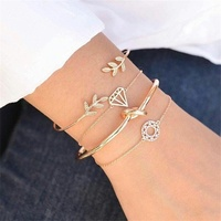 Zooying 14k gold chain stainless steel 7 bangle leaf knot bracelet set
