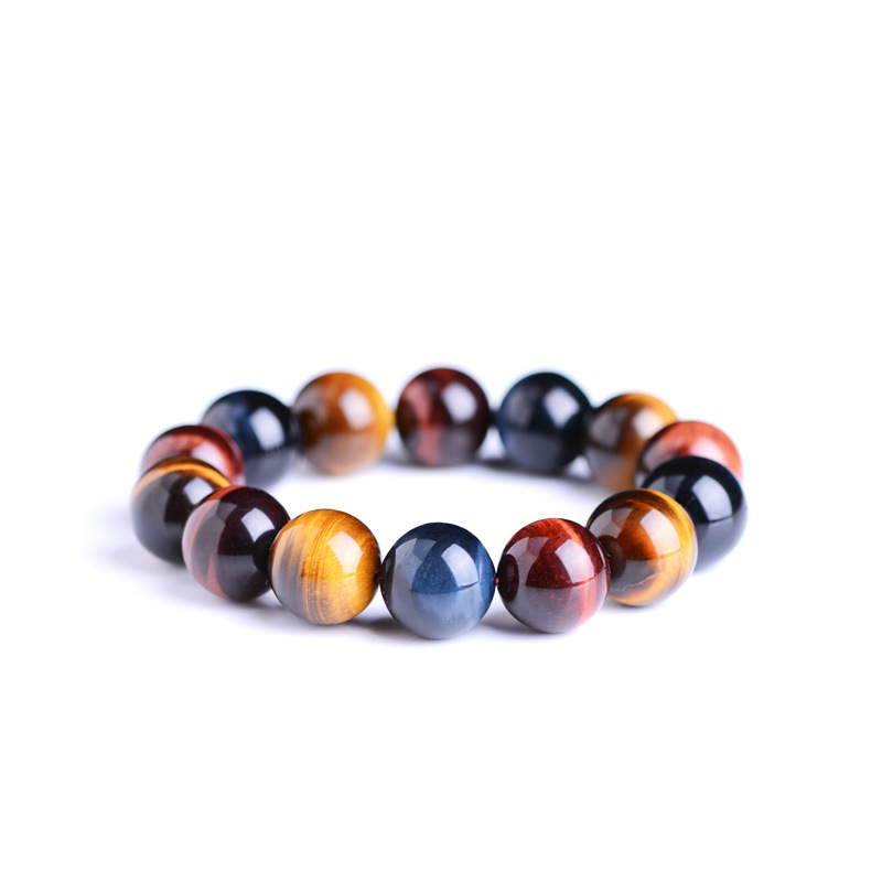 Natural Stone Multicolor <strong>Tiger</strong> <strong>Eye</strong> Stone Beaded <strong>Bracelet</strong> Bangle for Men