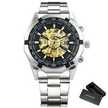 FORSINING Royal, водонепроницаемые мужские механические часы, золотые, нержавеющая сталь, лучший бренд, Роскошные, скелет, автоматические наручные...(Китай)
