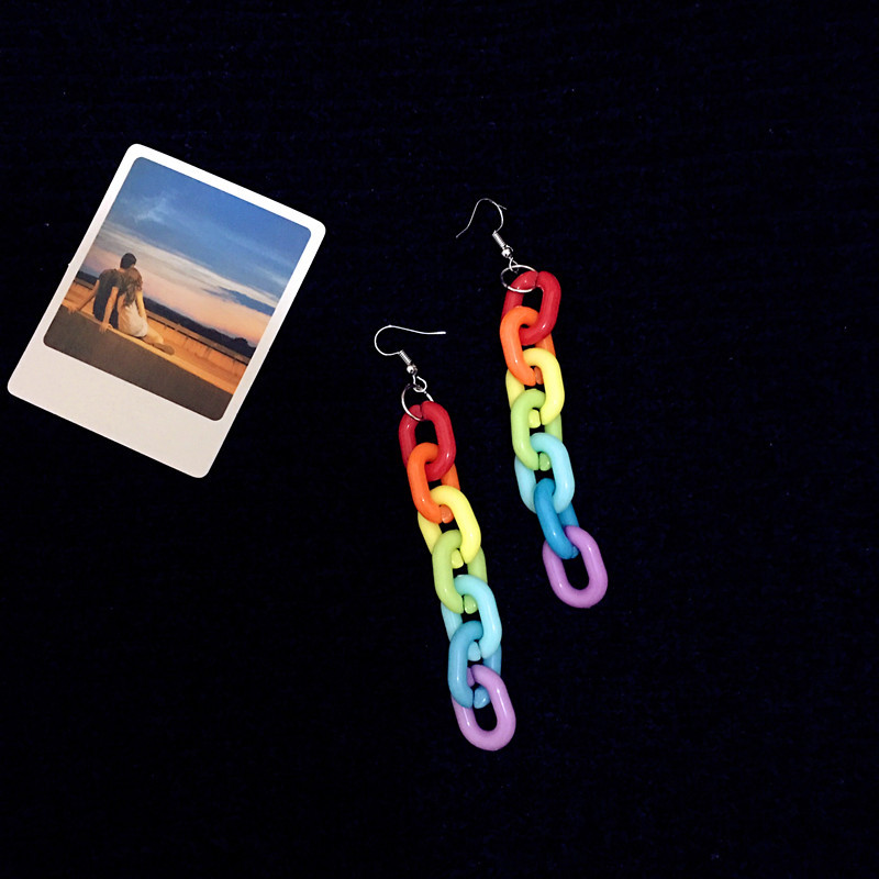 Original hip hop jewelry fashion colorful acrylic chains earrings charm ear clips wholesale