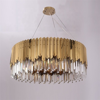 European OGS Light Crystal Modern Living And Bedroom Room Stainless Steel Lustre Cristal Luxury Golden Pendant Lamp
