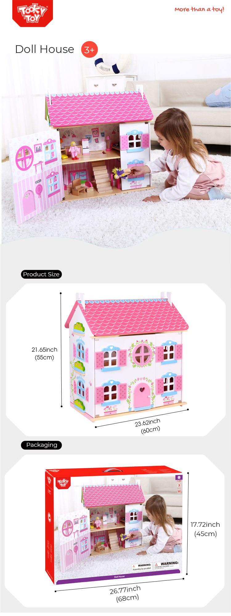 Best sale 3D Happy family house bed kids big furniture toys classic wooden doll house for baby