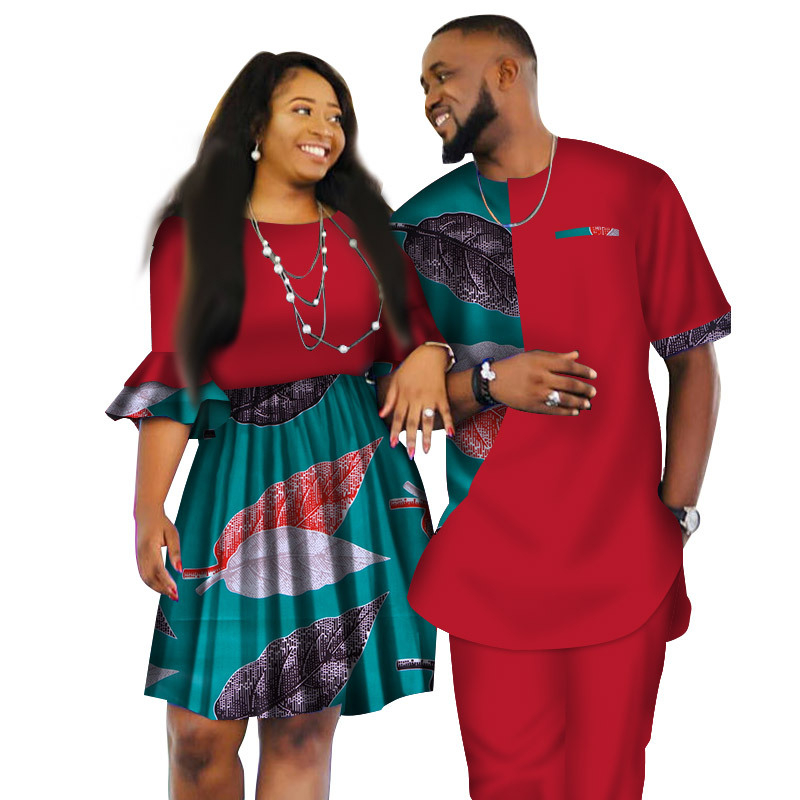A6124 Latest african wax fabric Fashion Designs Women Skirts and Men Suits Short Sledeve for Couple Apparel