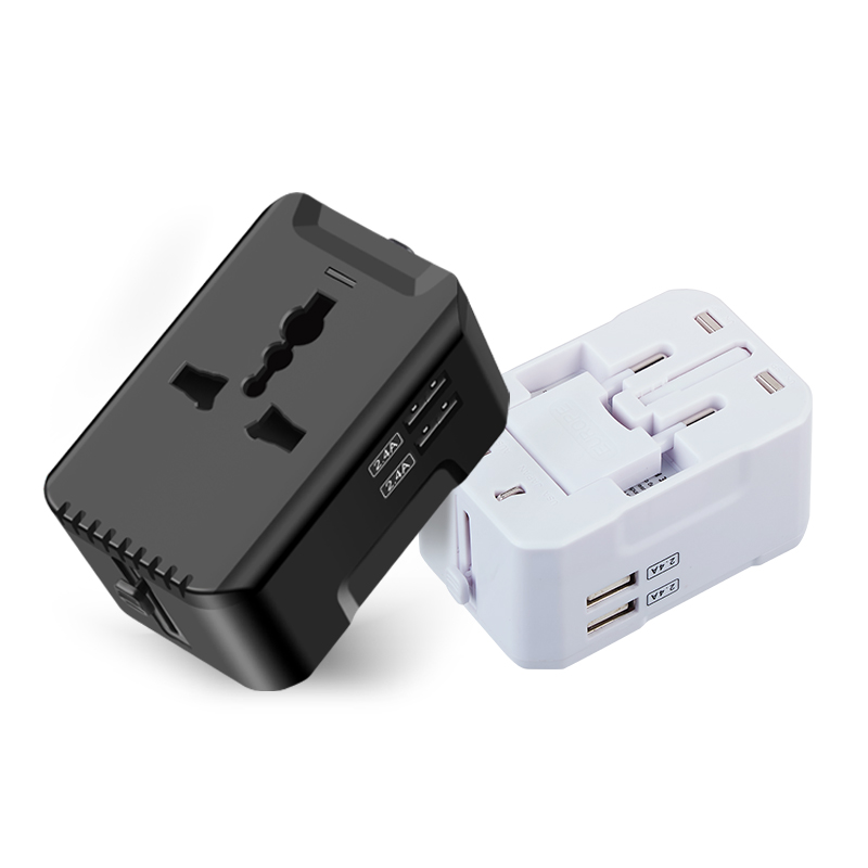 EU US AUS UK muti plug all in one ac/dc travel wall plug adapter travel with 2 USB 2.5A universal travel adapter