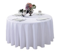 "Wholesale Polyester Custom Plain Table Cloth Wedding Hotel Restaurant Party 70""/90""/108""/120"" Round White Tablecloths"